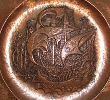 Superb c1900 Art Nouveau Arts & Crafts Copper Charger :Mansfeld Ship Design