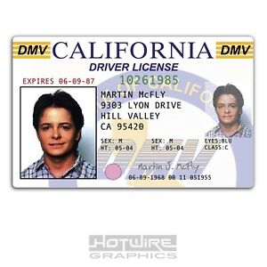 Ebay Series Plastic The 620444490030 Mcfly Future - Prop License Driver tv Marty Back Card Id To