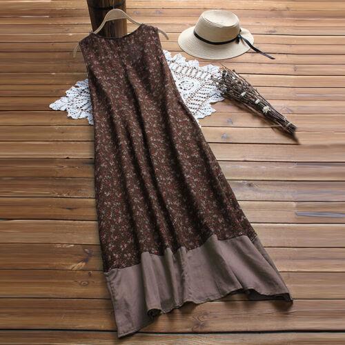 Women Cotton Ethnic Long Shirt Dress Sundress Splice Floral Tank Dress Summer