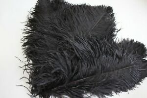 10-Black-second-grade-ostrich-wing-plumes-28-35-cm-11-14-inch
