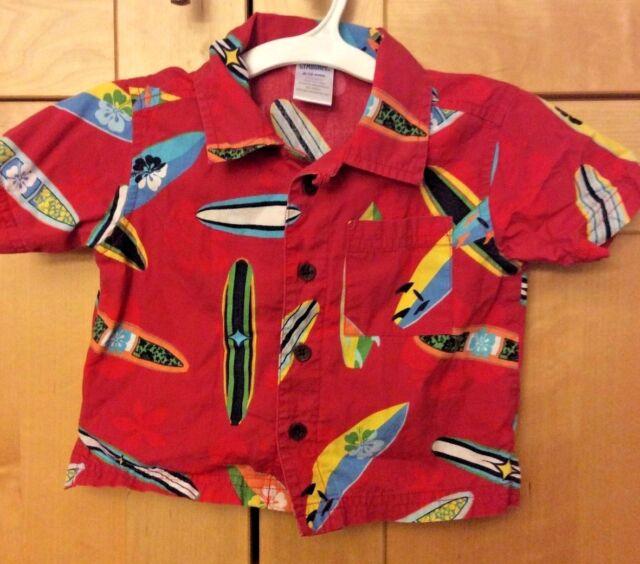 Gymboree Baby Boy Red Surfboards Hawaiian Cotton Camp Surf Shirt 6-12M