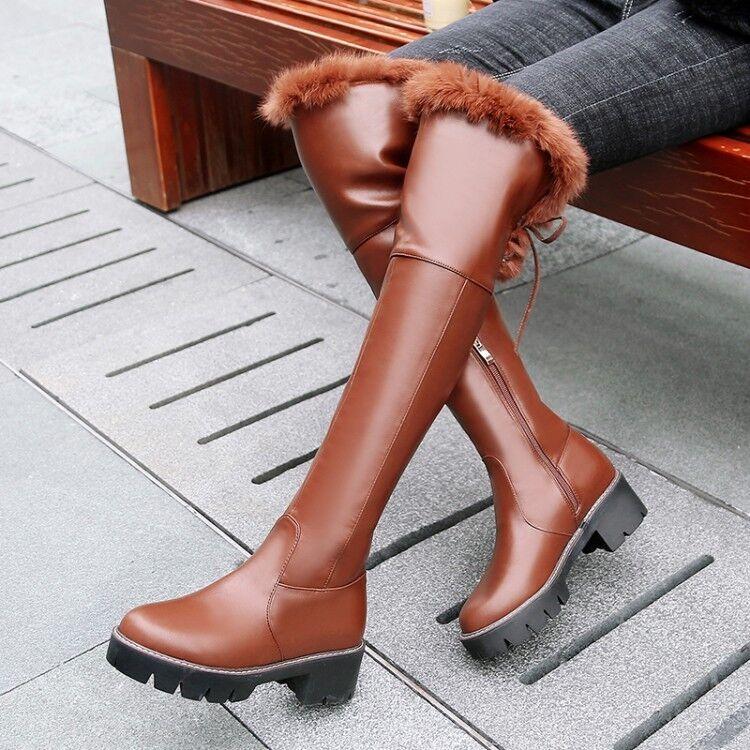 Nouveau Débardeur fashion hiver en fourrure gothique Bloc Moyen Talons Hautes Knight bottes