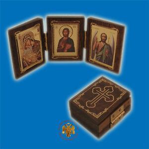 Orthodox-Wooden-Icon-Triptych-Gospel-Style-4x5cm-Orthodoxes-Ikonen-Triptychon