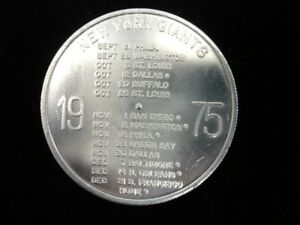 1975 Kessler New York Giants Football Schedule Coin