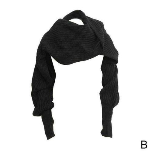Neuheit Unisex Frauen Gestrickte Schal Mit Ärmeln Lange für Damen Wraps Tüc Q8H5
