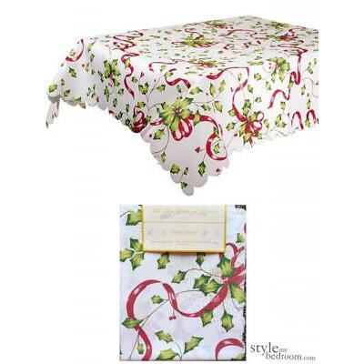 Holly & Ribbon White Christmas Tablecloth in 5 sizes