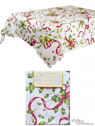 Holly /& Ribbon White Christmas Tablecloth in 5 sizes