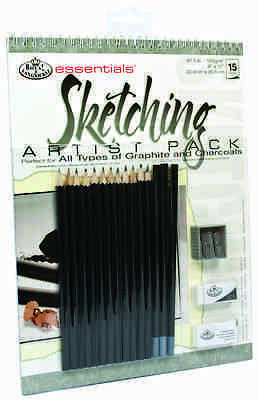 ART SET A4 Spiral Bound Sketching Draw pad 15 Graphite & Charcoal pencils RD513