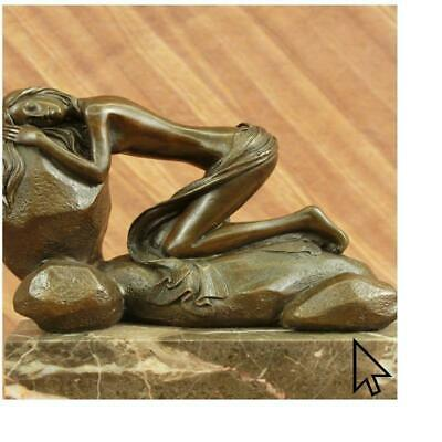Signed French Art Deco Bronze Sculpture of Nude Seated