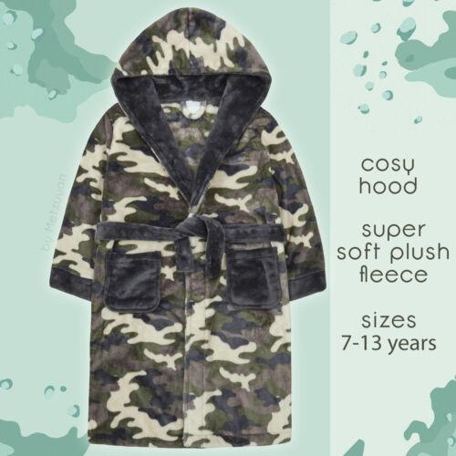 Kids Boys Camo Dressing Gown Camouflage Print Hooded Bathrobe for Boys Fleece UK