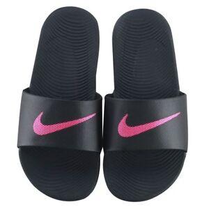 239d17691719b3 Womens Nike Kawa Slides Black Hot Pink Vivid Pink White 834588 060 ...