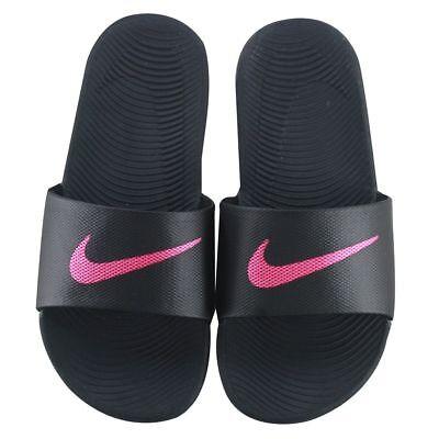 Womens Nike Kawa Slides Black Hot Pink