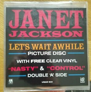 Janet-Jackson-Let-039-s-Wait-Awhile-Nasty-Control-Picture-Disc-amp-Clear-Vinyl