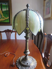 Antique Slag Stained Glass Tulip Shade and Metal Base Lamp