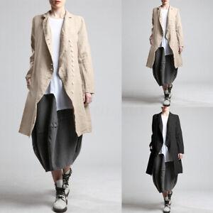 Women Cotton Linen Stripe Trench Coat Long Blazer Cardigan Jacket Plus Size 8-24
