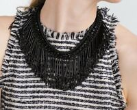 Zara Black Chain Fringes Necklace Bib Statement Bloggers Fav Sold Out