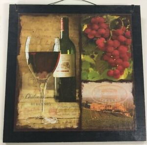 Details about red wine and grapes kitchen decor wooden wall sign tuscan  scene fruit winery