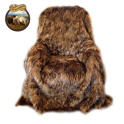 Premium Mongolian Faux Fur Throw Blanket Bedspread Minky Medium Wolf Brown Lynx