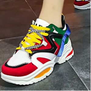 New-Designer-Style-Runner-Red-wHITE-Sneakers-Ladies-Trainers-Shoes-sizes-UK-3-8