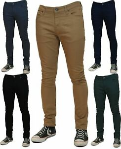d4cbdc241 NEW MENS SKINNY STRETCH JEANS Slim Fit Twill Coloured Jeans Pants ...