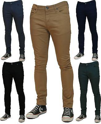 Nuevo Para Hombre Skinny Stretch Jeans Slim Fit De Sarga De Color Jeans Pantalones Tipo Chino Pantalones Control Ar Com Ar