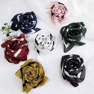 70-70cm-Silk-Head-Neck-Wrap-Satin-Scarves-Hair-Ties-Band-Polka-Dots-Square-Scarf