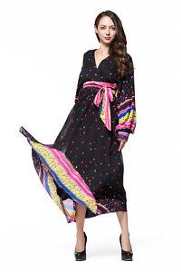 Plus Size V-neck Chiffon Long Sleeve Polka Dot Formal Evening Party Maxi Dress