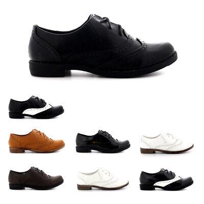 Señoras noche formal Brogue punta de ala trabajar vintage de moda Zapatos de trabajo todos los tamaños
