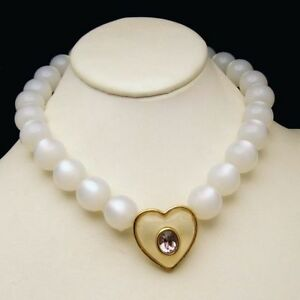 GIVENCHY-Vintage-Lucite-Moonglow-Beads-Necklace-Purple-Jelly-Belly-Heart-Strand