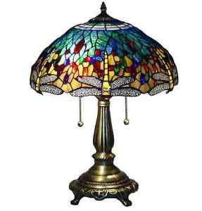 Tiffany style stained glass table lamp dragonfly handcrafted vintage image is loading tiffany style stained glass table lamp dragonfly handcrafted aloadofball Choice Image