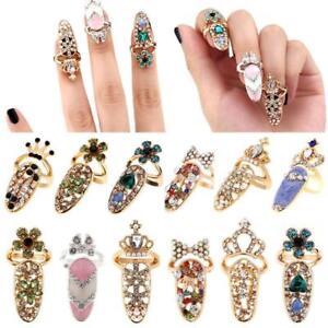 Women-Fashion-Bowknot-Nail-Ring-Flower-Rhinestone-Crystal-Finger-Full-Nail-Rings