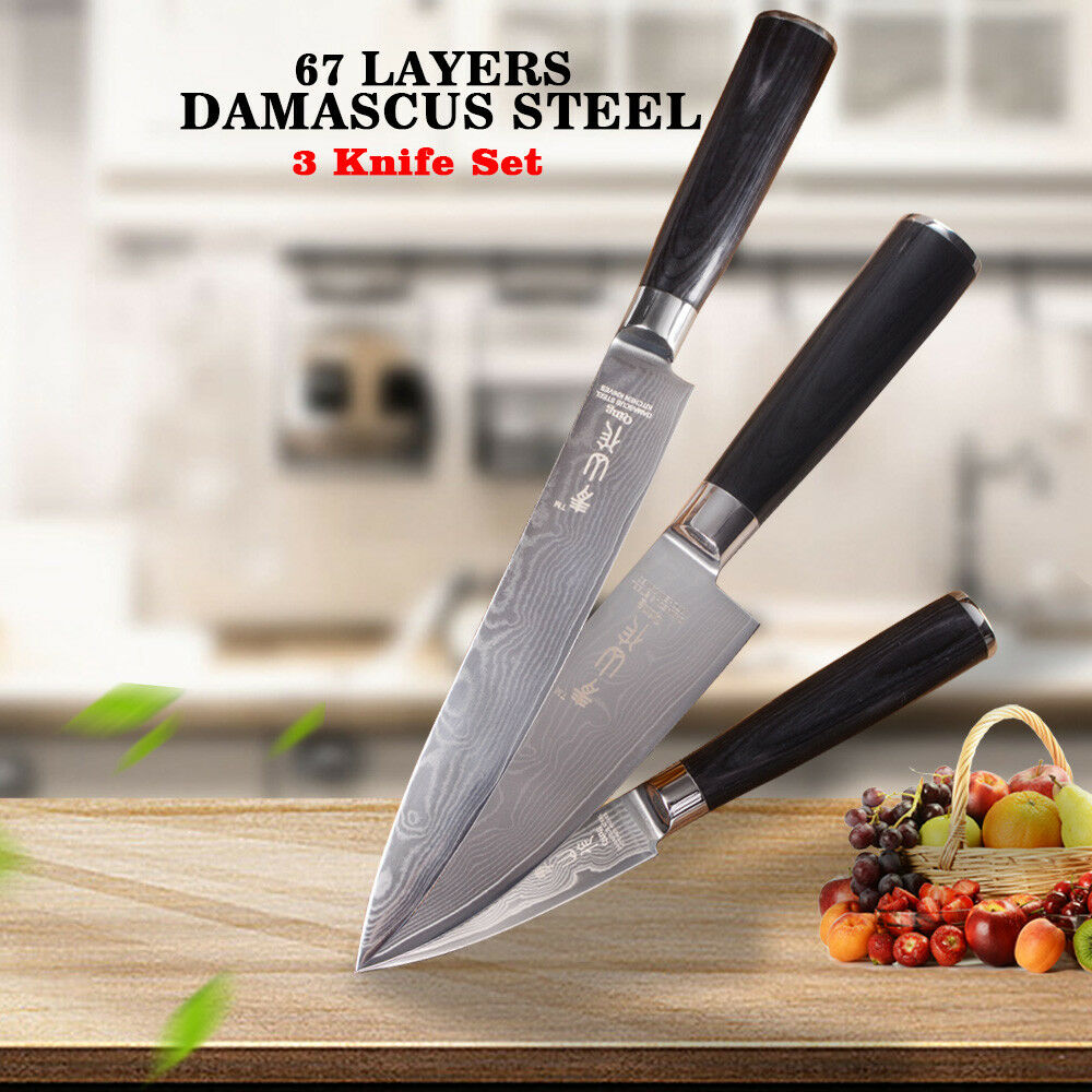 Knife Set 67 Layers Damascus Steel Kitchen Chef Knives Sashimi Slicing Utility X