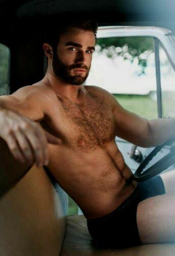 Shirtless Male Muscular Masculine Hairy Body Beard Man Beefcake PHOTO 4X6 G1042