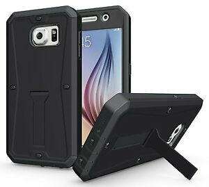 finest selection 0fbc5 35543 Details about Samsung Galaxy S6 Case, Heavy Duty Cover Case w/ Built-in  Screen Protector Stand