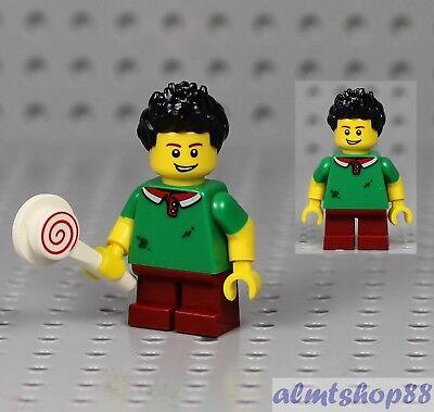 Boy Kids Minifigure w// Lollipop Green Shirt Red Pants /& Black Spiked Hair LEGO