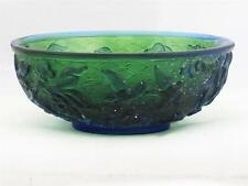 VINTAGE CHINESE GREEN PEKING GLASS MINI BOWL W/ BLUE OVERLAY OF BIRDS & FLOWERS
