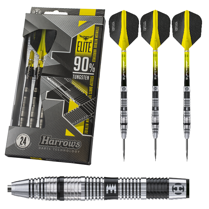 Harrows Dart - Elite 90% Tungsten 21g 22g 23g 24g 24g 24g 25g 26g (Steel Dart) NEU OVP 4b7203