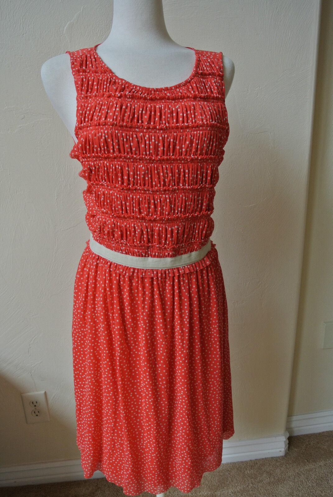 b1b8fb085807 ANTHROPOLOGIE 9 H15 STCL Postmark Orangish Red Mesh Swiss Dots Dress L NWOT