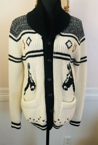 Vintage 1970's Miller Cable Knit Horse Sweater Jac
