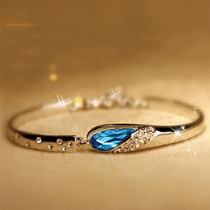 1PC-Damen-Silber-Plattiert-Blau-Kristall-Strass-Armreif-Armband-Armschmuck-Neu