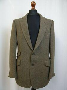 Uomo-Daks-Marrone-Testurizzato-Tweed-Blazer-Giacca-40L