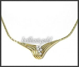 Diamant-Collier-Kette-massiv-14-3g-585-Gold-mit-0-35ct-Lupenreinen-Brillanten