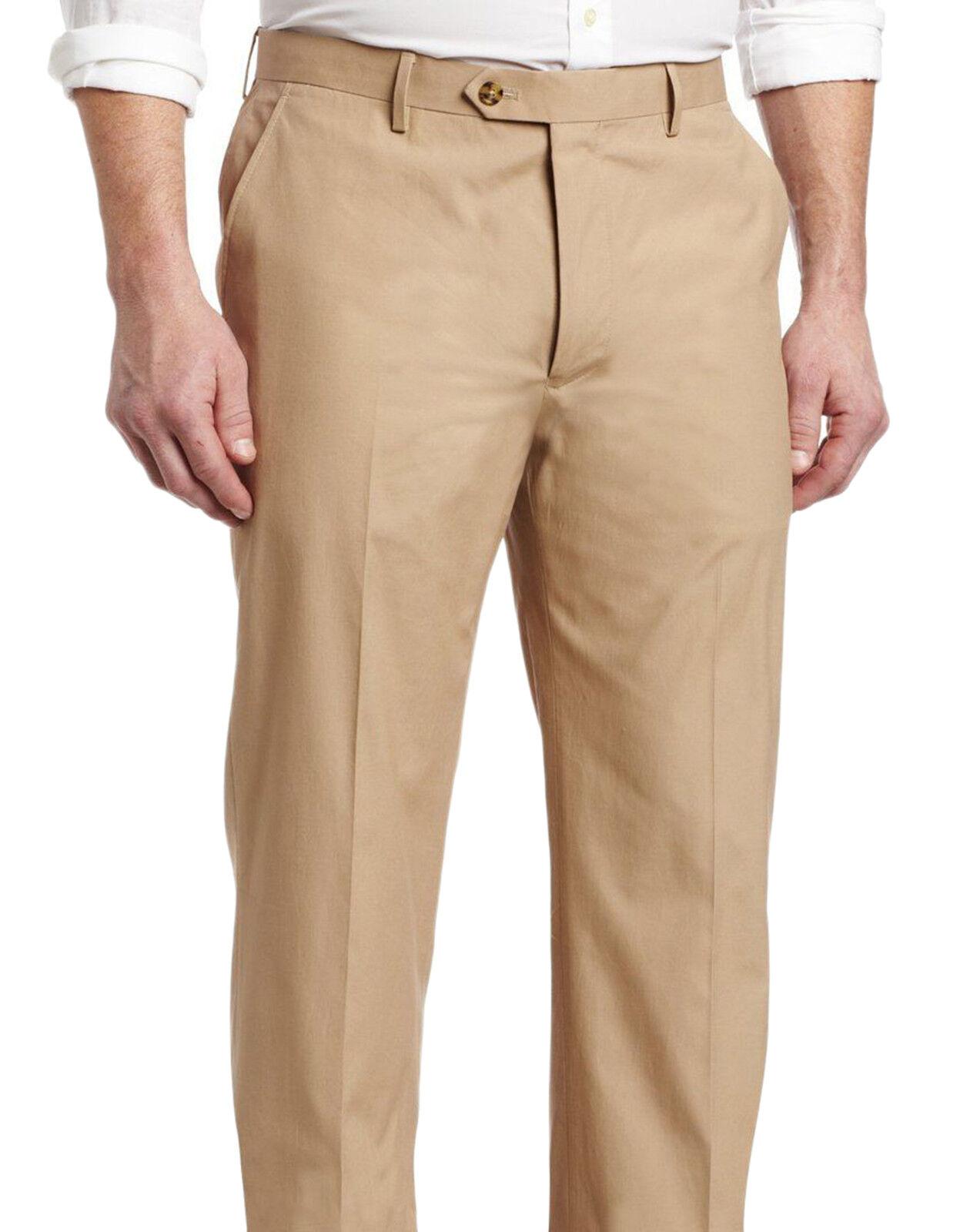 Nautica Classic Fit Solid Tan Flat Front Wool Dress Pants