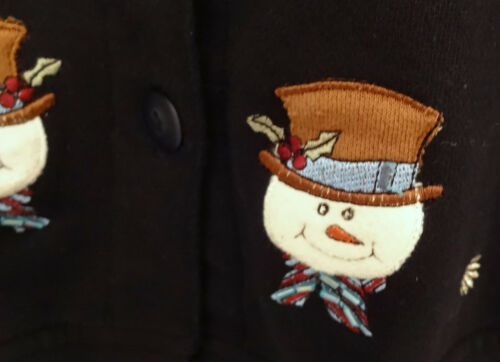 Holiday Xl Fantastic Snow Snowman Christmas Ugly Sz Flake Sweater Black BHdHqAw