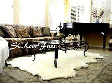 "48"" x 58"" Large Warm White Sheepskin Pelt Octo Sheep Area Rug Faux Fur Shaggy"