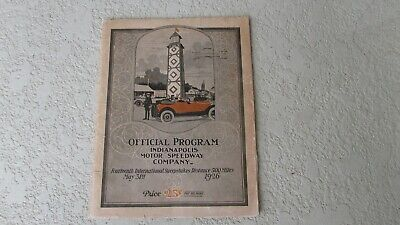 Bello 1926 Indy 500 Race Program 14 Corsa Storico Eventi Cars Driver Vintage Ads