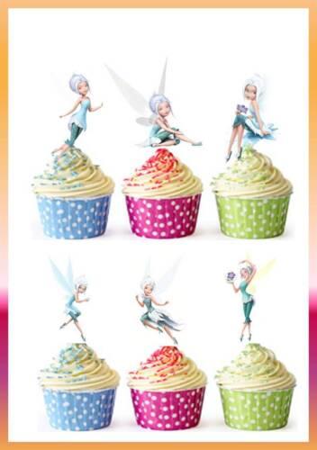 stand Up * 60 X Cup Cake Toppers Comestibles bígaro Hadas Niñas Fiesta De Oblea