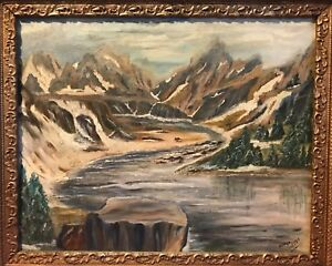 buy amazing selection the latest Details about Actress GLADYS LLOYD Hidden Lake in Glacier National Park MO  Oil On Board 1959