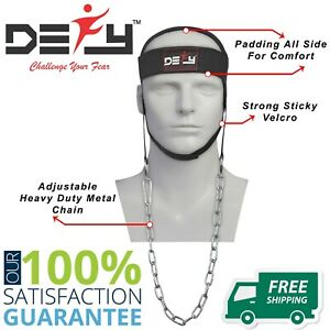 DEFY-NYLON-WEIGHT-LIFTING-HEAD-HARNESS-NECK-STRENGTH-GYM-EXERCISE-PADDED-BLACK