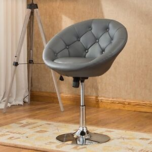 Marvelous Details About Gray Vanity Stool Swivel Chair Bedroom Makeup Dress Furniture Stool Seat Tufted Andrewgaddart Wooden Chair Designs For Living Room Andrewgaddartcom